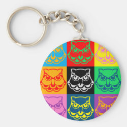 Basic Button Keychain with Pop Art Owl Face design