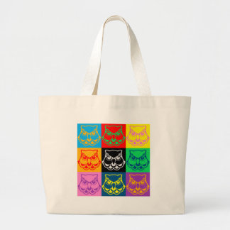 Pop Art Owl Face Large Tote Bag