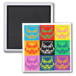 Square Magnet with Pop Art Owl Face design