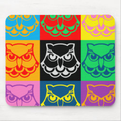 Mousepad with Pop Art Owl Face design