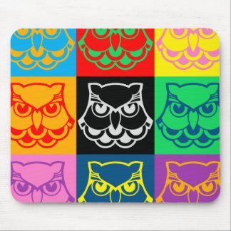 Pop Art Owl Face Mouse Pad