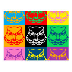 Postcard with Pop Art Owl Face design