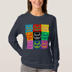 Women's Basic Long Sleeve T-Shirt with Pop Art Owl Face design