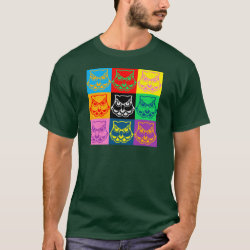 Men's Basic Dark T-Shirt with Pop Art Owl Face design