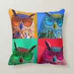 Pop art Owl Throw Pillows
