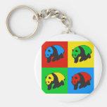 Pop Art Panda Basic Round Button Keychain