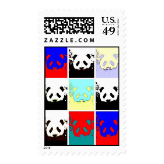 Pop Art Panda Faces Postage
