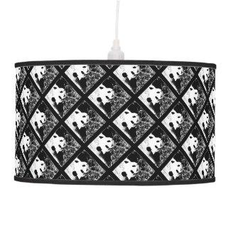 Pop Art Pandas Hanging Lamp Black and White