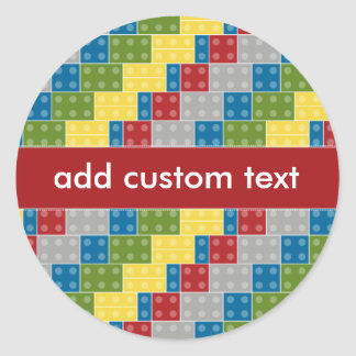 Pop Art Pattern Colorful Bricks for Boys Classic Round Sticker