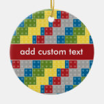 Pop Art Pattern Colorful Bricks for Boys Double-Sided Ceramic Round Christmas Ornament