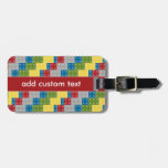 Pop Art Pattern Colorful Bricks for Boys Travel Bag Tags