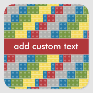 Pop Art Pattern Colorful Bricks for Boys Square Sticker