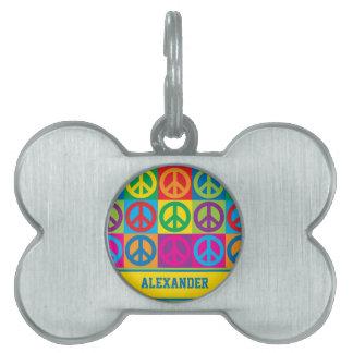 Pop Art Peace Pet Name Tag