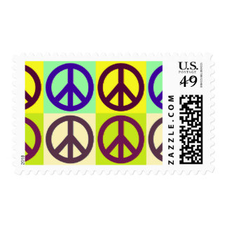 Pop Art Peace Sign Symbol Postage