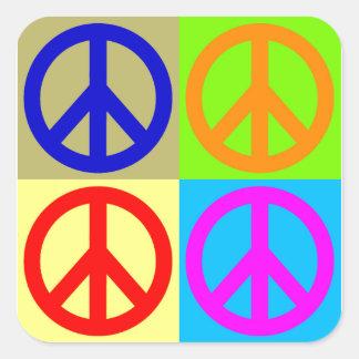 Pop Art Peace Sign Symbol Square Sticker