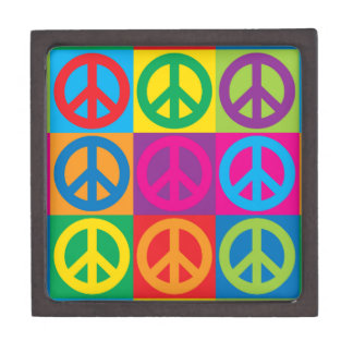 Pop Art Peace Symbols Keepsake Box