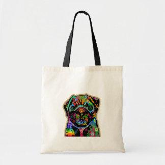 Pop Art Pet Pug Colorful Art Retro Tote Bags