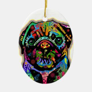 Pop Art Pet Pug Colorful Art Retro Double-Sided Oval Ceramic Christmas Ornament