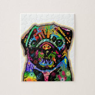 Pop Art Pet Pug Colorful Art Retro Jigsaw Puzzle
