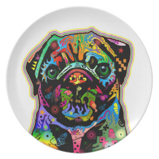 Pop Art Pet Pug Colorful Art Retro Plate