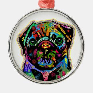 Pop Art Pet Pug Colorful Art Retro Round Metal Christmas Ornament