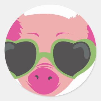 Pop art Piggy Classic Round Sticker