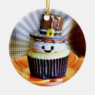 Pop Art Pilgrim Cupcakes Double-Sided Ceramic Round Christmas Ornament