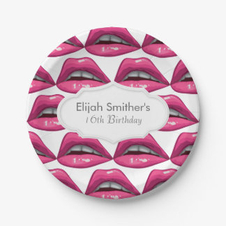 Pop Art Pink Lips Makeup Paper Plate
