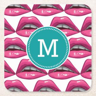 Pop Art Pink Lips Makeup Square Paper Coaster