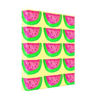Pop Art pink watermelons on lemon canvas