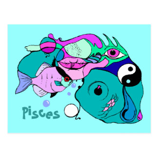 Pop Art Pisces Abstract Yin Yang Fish Gift Gifts Postcard
