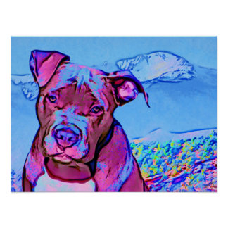 Pop Art Pit Bull Puppy Dog Poster