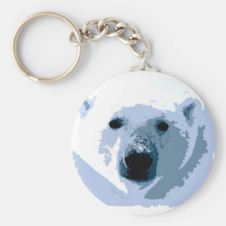 Pop Art Polar Bear Basic Round Button Keychain