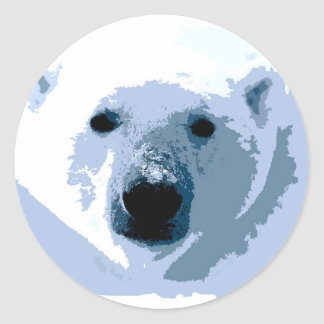 Pop Art Polar Bear Classic Round Sticker