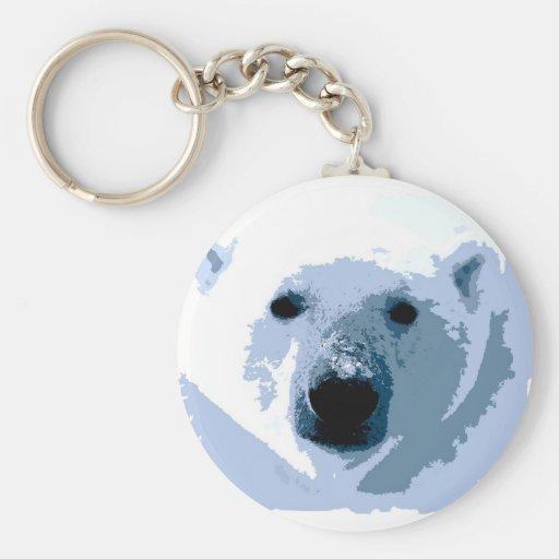 Pop Art Polar Bear Keychains