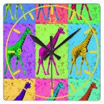 Pop Art Popart Walking Giraffe Multi-Color Wallclock