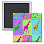 Pop Art Popart Walking Giraffe Multi-Color Refrigerator Magnets