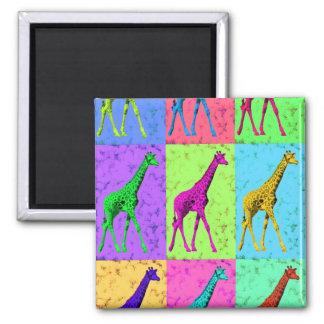 Pop Art Popart Walking Giraffe Multi-Color Magnet