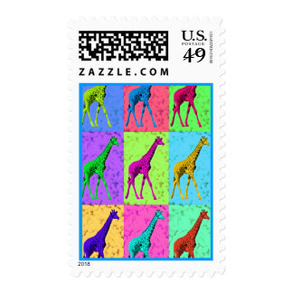 Pop Art Popart Walking Giraffe Multi-Color Postage Stamps