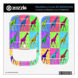 Pop Art Popart Walking Giraffe Multi-Color BlackBerry Skins