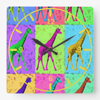 Pop Art Popart Walking Giraffe Multi-Color Square Wall Clock