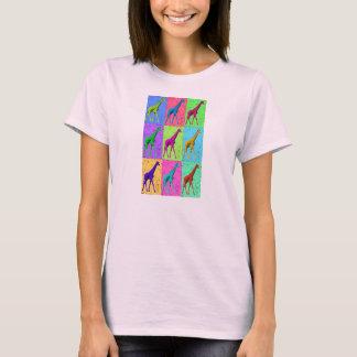 Pop Art Popart Walking Giraffe Multi-Color T-Shirt