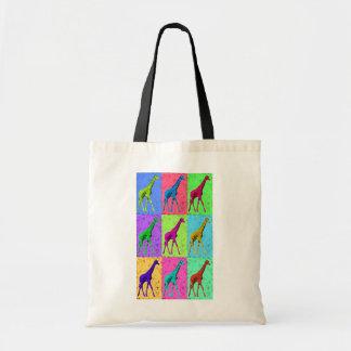 Pop Art Popart Walking Giraffe Multi-Color Tote Bag