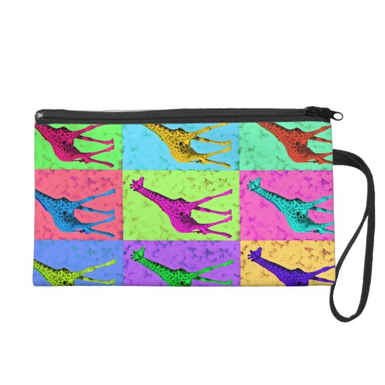 Pop Art Popart Walking Giraffe Multi-Color Wristlet