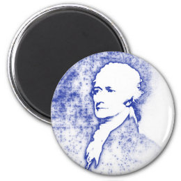 Pop Art Portrait Alexander Hamilton in Blue Magnet