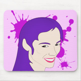 Pop Art Portrait of a Purple Haired Girl Mouse Pad