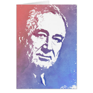 Pop Art Portrait of FDR in Red and Blue Card