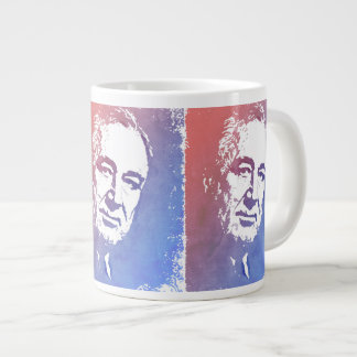 Pop Art Portrait of FDR in Red and Blue Large Coffee Mug