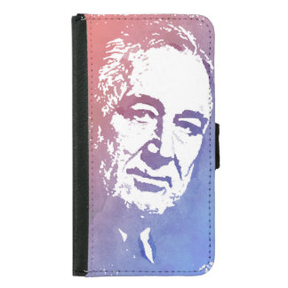 Pop Art Portrait of FDR in Red and Blue Wallet Phone Case For Samsung Galaxy S5