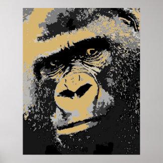 Pop Art Portrait of Gorilla Poster Print